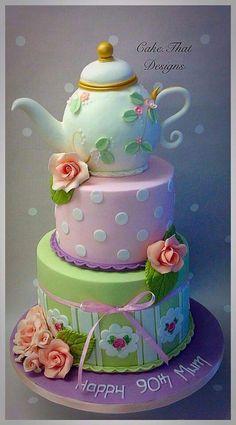 70th Birthday Cake Mum, Tea Party Birthday, Cupcakes, Cupcake Cakes, Teapot Cake, Occasion Cakes, Girl Cakes, Fancy Cakes, Pretty Cakes