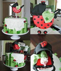 Baby shower cake, ladybug cake, leaves, fondant baby pram, ruffle baby butt