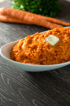Healthy Mashed Carrots (low carb, gluten free, can be made vegan)