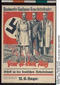 1935-Handwerker Kaufmann Gewerbetreibender.. Hier ist Dein Platz im Gesamtverband deutscher Handwerker, Kaufleute und Gewerbetreibender GHG in der Deutschen Arbeitsfront