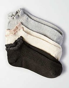 AEO Pointelle Shortie Socks 3-Pack, Heather Gray | American Eagle Outfitters