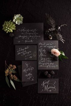 Invitaciones de Boda / Wedding Invitations Black and White Wedding Stationery Black Wedding Invitations, Wedding Invitation Suite, Wedding Stationary, Invitation Ideas, Calligraphy Invitations, Calligraphy Cards, Learn Calligraphy, Wedding Suite, Invite