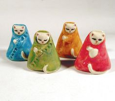 Porcelain Tiny Colorful Kitty Cat Collectible by jillatay on Etsy