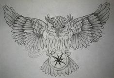 Open Wings Owl And Compass Tattoo Designs