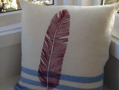 Possibly screen print something of the like? Chenille Blanket, Blue Blanket, Embroidered Cushions, Sewing Pillows, Making Ideas, Screen Printing, Upcycle, Sewing Patterns, Blog