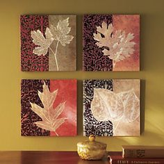 Set of 4 Canvas Leaf Prints from Through the Country Door®