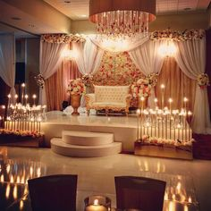 Love the way this elegant style reception turned out! Reception Stage Decor, Wedding Stage Design, Wedding Reception Backdrop, Wedding Mandap, Desi Wedding Decor, Wedding Hall Decorations, Engagement Decorations, Wedding Ideas, Indian Wedding Stage