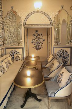 Talk of the Town: Fashion Star Marie-Anne Oudejans Designs a Bar in Jaipur - Remodelista Oudejans borrowed her blue and white motifs from classic Indian designs that she translated in an outsized way.
