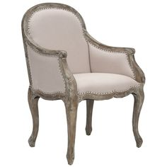 Safavieh Arles Beige/ Antiqued Oak Finish Nailhead Arm Chair | Overstock.com Shopping - Great Deals on Safavieh Dining Chairs