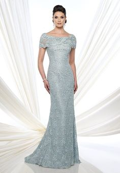 Lace fit and flare gown with short sleeves, portrait neckline, back covered buttons, lace appliqué placed around back thigh, sweep train.
