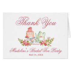 Bridal tea party bridal shower floral and gold placemat bridal tea party bridal shower pink thank you note card negle