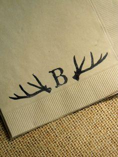 Personalized Deer Antler Light Burlap Rustic by CharlestonCharms, $15.00