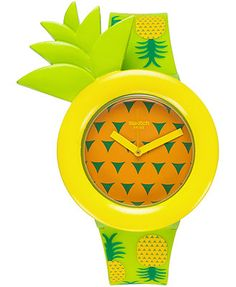 Swatch Unisex Swiss Exotic Taste Green Pineapple Print Silicone Strap Watch 34mm GG2218