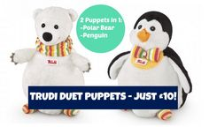 Trudi Duet Puppets are 2 Puppets-in-1- coming in an array of animal pairings - these adorable puppets make twice the fun this Christmas!