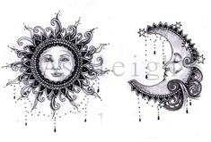 Bohemian Sun and Moon by tattoosbyashleigh