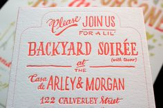 Hand-lettered style invites. Ladyfingers-Letterpress-Neon-Hand-Lettering-Wedding-Invitations-Detail