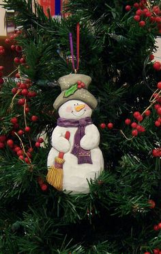 Hand made hand carved hand painted Frosty the by WasatchWoodcarver
