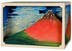 DIY Paper diorama Hokusai Fuji 2view paper craft by NOOKatmosphere