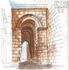 Puerta de Sevilla. Vista desde el interior. El exterior es precioso pero ya lo han dibujado los compis, así que esta es la cara interior.