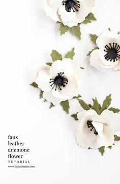Faux leather + Felt Anenome Tutorial and Cut Files // www.deliacreates.com