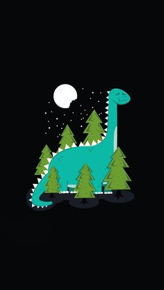 ↑↑TAP AND GET THE FREE APP! Art Creative Cute Moon Trees Dinosaur Funny HD iPhone Wallpaper
