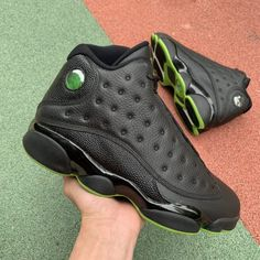 74f0f2bbaa72e0 Cheap Air Jordan 13 Retro Altitude Black Green For Sale-1