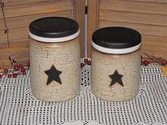 primitive ceramic canisters crackle black star farmhouse country home decor