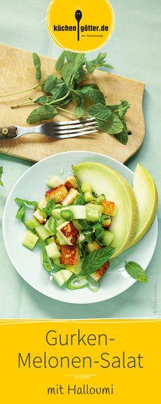 Die beste Beilage zum Grillen: Salat mit Melone, Gurke und Halloumi.