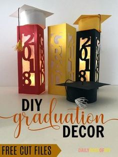 DIY Graduation Decor Centerpieces. Free cut files included. Easy to make decorations for your graduation party #graduationparty #graduation