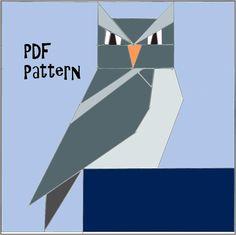 Paper Pieced Owl PDF Pattern by TheBilasShop on Etsy, 2.50USD