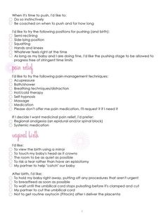 FREE Birth plan printable | Diary of a Fit Mommy | Pinterest ...