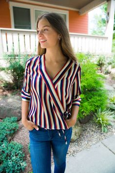 Free Ride Striped Top Blouse Designs, Fashion Inspiration, Trunks, Plaid, Stitch, Boutique, Fall, Winter, Casual