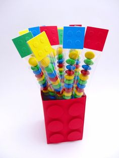 Lego Block Treat Bags set of 12 by CynDetails on Etsy, $9.00