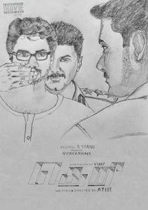 Theri first look pecil art