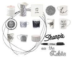 """""""Doodles on the table"""" by landcoolj ❤ liked on Polyvore featuring interior, interiors, interior design, home, home decor, interior decorating, Marimekko, Crate and Barrel, Sharpie and Kate Spade"""