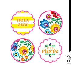 Fiesta Baby Shower Cupcake Topper / Tribal Flower Cupcake Topper / Mexican Fiesta Cupcake Topper / Papel Picado / Printable / DIY / *Digital - http://babyshower-cupcake.com/fiesta-baby-shower-cupcake-topper-tribal-flower-cupcake-topper-mexican-fiesta-cupcake-topper-papel-picado-printable-diy-digital/