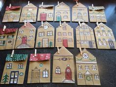 Adventskalender Häuschen aus Papiertüten Houses made from Paperbags Christmas Activities, Craft Activities, Preschool Crafts, Kids Christmas, Advent Calendar House, Art For Kids, Crafts For Kids, Advent Calenders, Theme Noel
