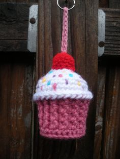 Plush Crochet Cupcake Keychain Stuffie ready to ship by luvbuzz.etsy.com