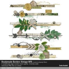 Readymade Borders: Vintage No. 09 element clusters of leaves and wooden accents perfect for card making and scrapbooking #designerdigitals