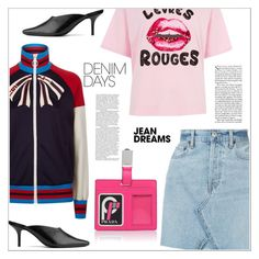 """""""Jean Dreams: Denim Skirts"""" by bliznec-anna ❤ liked on Polyvore featuring Gucci, RE/DONE, River Island, Prada, Dorateymur and denimskirts"""