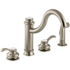 Buy the Kohler Brushed Nickel Direct. Shop for the Kohler Brushed Nickel Double Handle Kitchen Faucet with Metal Lever Handles and Sidespray from the Fairfax Series and save. Kohler Faucet, Kitchen Sink Faucets, Kitchen Handles, Kitchen And Bath, Contemporary Kitchen Faucets, Large Containers, Kitchen Styling, Plumbing, Taps