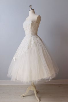 1950s Wedding Dress / 50s Tea Length Wedding Dress / Strapless Wedding Dress / Forever and Always
