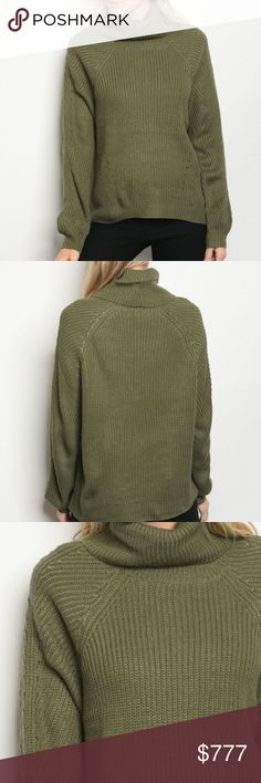 OLIVE GREEN KNIT SWEATER Brand new Boutique item  Grab this cozy long sleeve rib knit sweater featured in the one of our most loved and popukar colors OLIVE GREEN with warm cowl/turtleneck neckline. Pair with our warm fleeced lined leggings and faux fur vest for a stylish fall/winter look! ** ALSO AVAILABLE IN BLUSH PINK**  65% ACRYLIC 20% POLYESTER 15% NYLON Modeled in a size small  cardigans sweaters warm casual street style winter fall season knitted knits . Sweaters Cowl & Turtlenecks