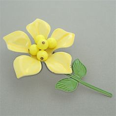 Hippie Chic FLOWER POWER Vintage Enamel Flower Brooch SUNNY Yellow 1960s 1970s Plastic Beaded Cluster by malibloom, $14.00