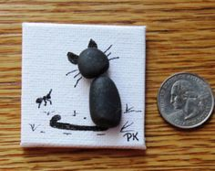 Miniature Pebble Art Magnet Birds on a Wire от LakeshorePebbleArt