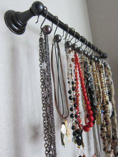 ideas diy jewelry organizer bracelet ideas diy jewelry organizer bracelet DIY necklace storage ideasHooks are good to hang up or down from above .Shout Outs (Necklace Edition!) - A girl and a Necklace Storage, Necklace Holder, Jewelry Holder, Jewellery Storage, Jewelry Stand, Bracelet Storage, Earring Holders, Necklace Display, Jewelry Organizer Wall