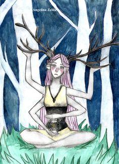 #deer #girl #pinkhair #forest #watercolor #original