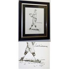 27 x 32 in. Ted Williams Autographed Lithograph, Lewis Watkins 1936 Artist Proof, As Shown