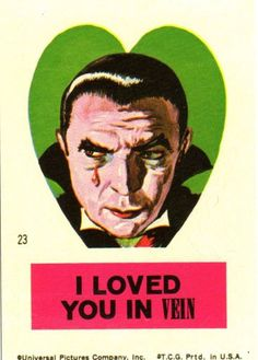 { Vintage Valentine Card / Heart / Retro Valentines / St Valentines Day / Love / offbeat / fun / unusual / Strange / Weird Funny Valentine / vampire / Count Dracula }