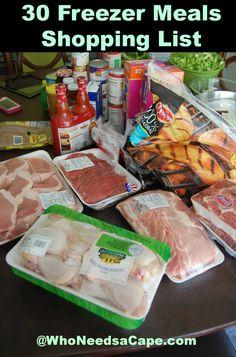 30 Summer Freezer Meals Shopping List